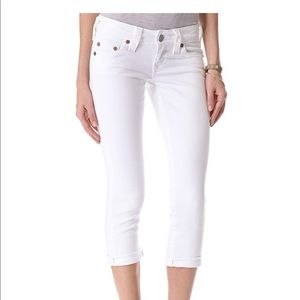 True Religion Cropped White Jeans